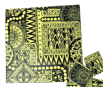 Yellow Tribal Ceramic Tiles 10x10cm