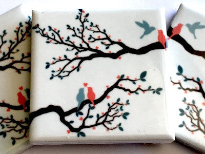 Hand Printed Ceramic Tiles 4.8 x 4.8 cm - Pattern 1