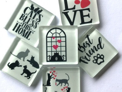 'Cat' Themed Glass Tiles