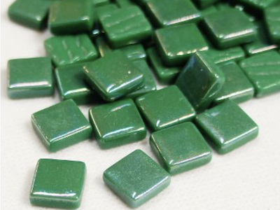 Spruce Green Iridised Glass Tiles 12mm