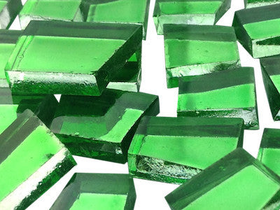 green irregular mirror tiles