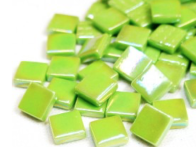 green iridised glass tiles 12mm