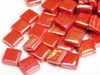 red iridised glass tiles 12mm