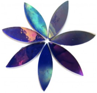 Large Rainbow Blue Iridised Stained Glass Petals