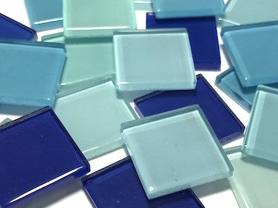 Mixed Blue Glass Mosaic Tiles 2.5cm