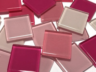 Mixed Pink Glass Mosaic Tiles 2.5cm