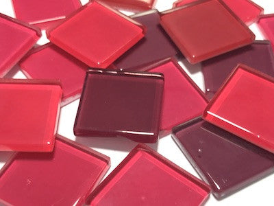Mixed Red Glass Mosaic Tiles 2.5cm