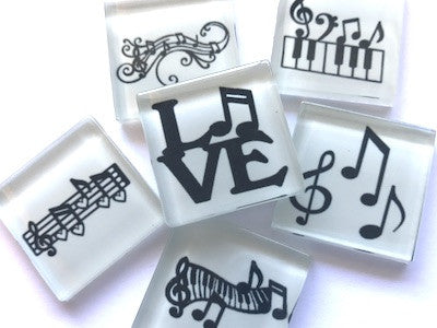 'Music' Themed Glass Tiles