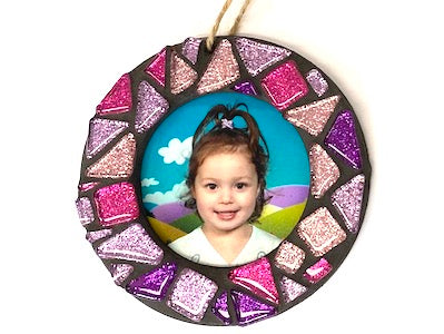 Pink & Purple Glitter Christmas Photo Frame Kit
