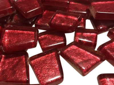 Red Irregular Metallic Glass Tiles