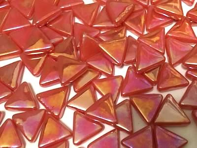 Iridised Red Glass Triangles