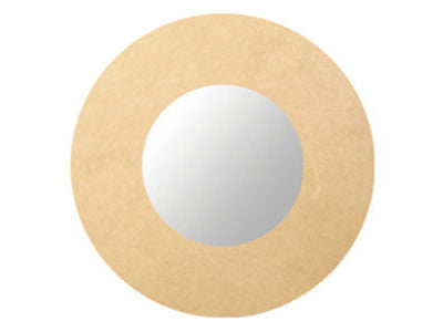 Small Round Wooden Mirror - 24 cm's