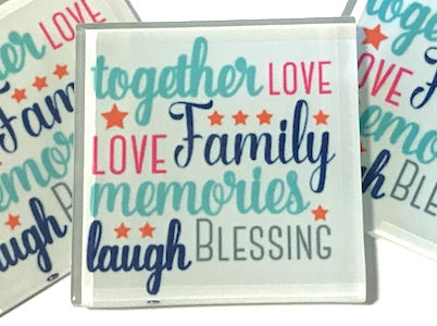 Together, Love, Family - Glass Quote Tile