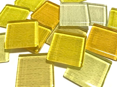 Yellow Fine Textured Glass Tiles 2.5cm