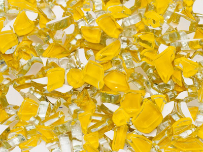 Yellow Crackled Glass Mosaic Tiles
