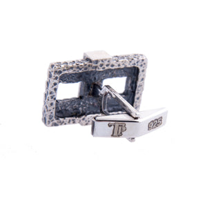 Sterling Silver Cufflinks - Hammered Silver Chain Men Cufflinks