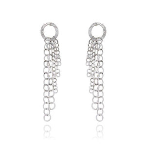 Sterling Silver Earrings - Sterling Silver Chain Drop Earrings