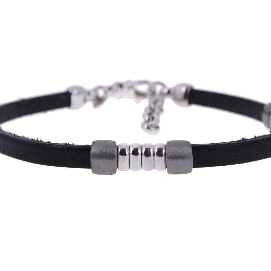 Sterling Silver Mens Bracelets - Black Leather Insert Silver Bracelet