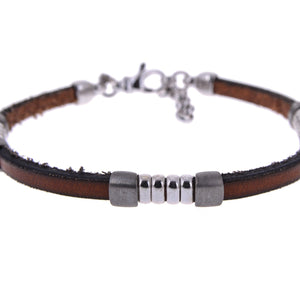 Sterling Silver Mens Bracelets - Brown Leather Insert Silver Bracelet