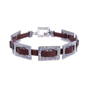 Sterling Silver Mens Bracelets - Hammered Silver Chain And Brown Leather Men Bracelet