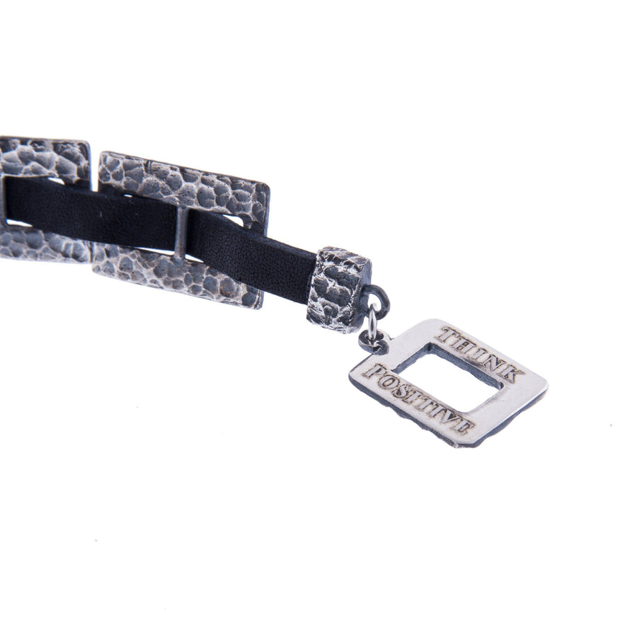 Sterling Silver Mens Bracelets - Hammered Silver Chain With Black Leather Bracelet Men