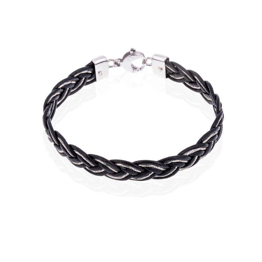 Sterling Silver Mens Bracelets - Men's Black Leather And Silver Chain Bracelet