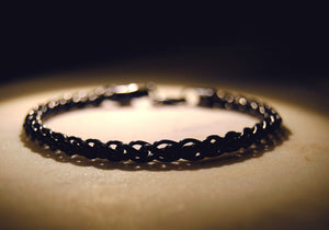 Sterling Silver Mens Bracelets - Men's Black Sterling Silver Bracelet