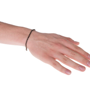 Sterling Silver Mens Bracelets - Men's Sterling Silver Chocolate Colour Chain Bracelet