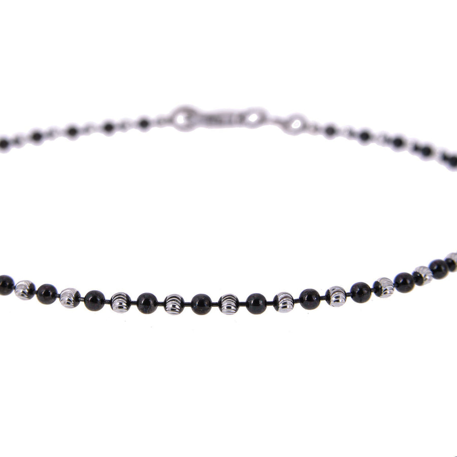 Sterling Silver Mens Bracelets - Men's Sterling Silver Diamond Balls Chain Type Bracelet