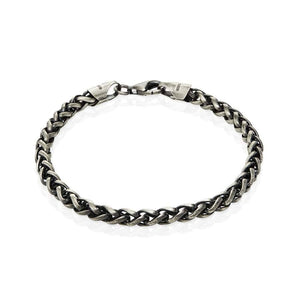 Sterling Silver Mens Bracelets - Men's Sterling Silver Gunmetal Grey Bracelet