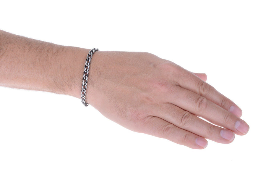 Sterling Silver Mens Bracelets - Men's Sterling Silver Gunmetal Grey Double Link Bracelet