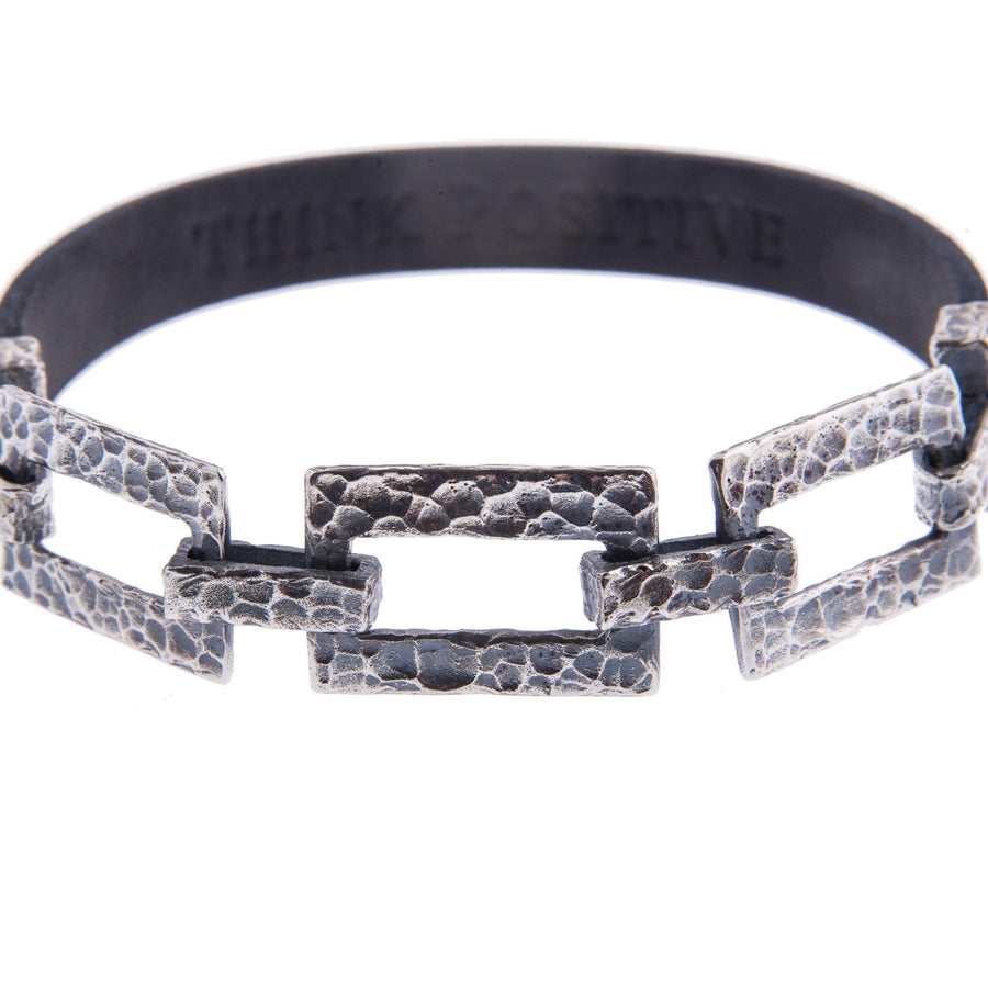 Sterling Silver Mens Bracelets - Silver Chain Detail And Black Leather Men Bracelet