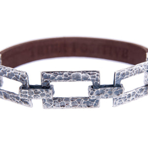 Sterling Silver Mens Bracelets - Silver Chain Detail And Brown Leather Men Bracelet