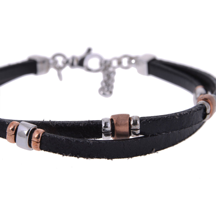 Sterling Silver Mens Bracelets - Sterling Silver Twisted Black Leather Insert Silver And Gold Bracelet