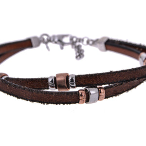 Sterling Silver Mens Bracelets - Sterling Silver Twisted Brown Leather Insert Silver Bracelet