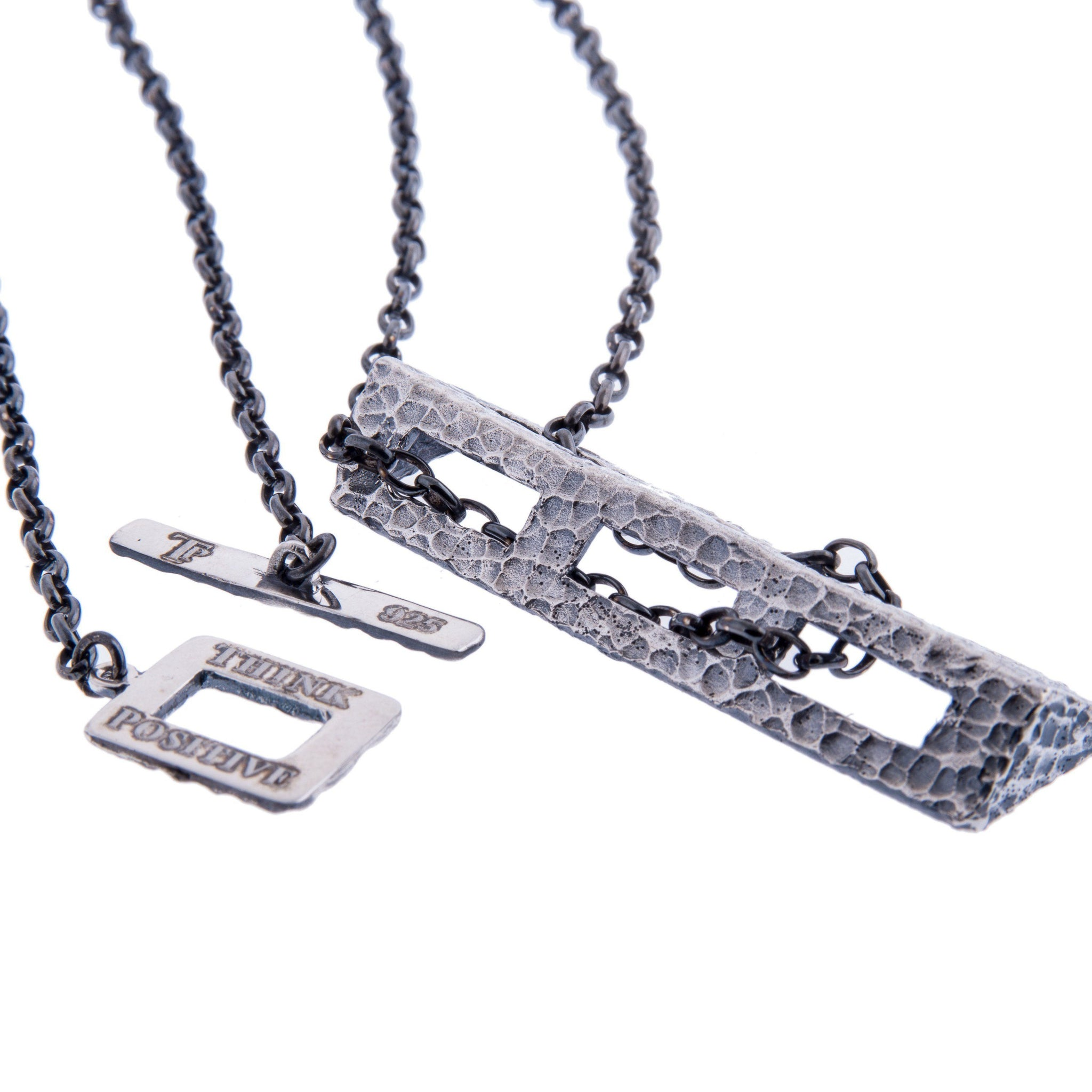 Silver chain pendant men necklace think positive sterling silver mens necklaces hammered silver chain pendant men necklace mozeypictures Image collections