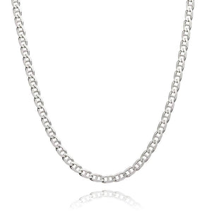 Sterling Silver Mens Necklaces - Sterling Silver Curved Link Necklace