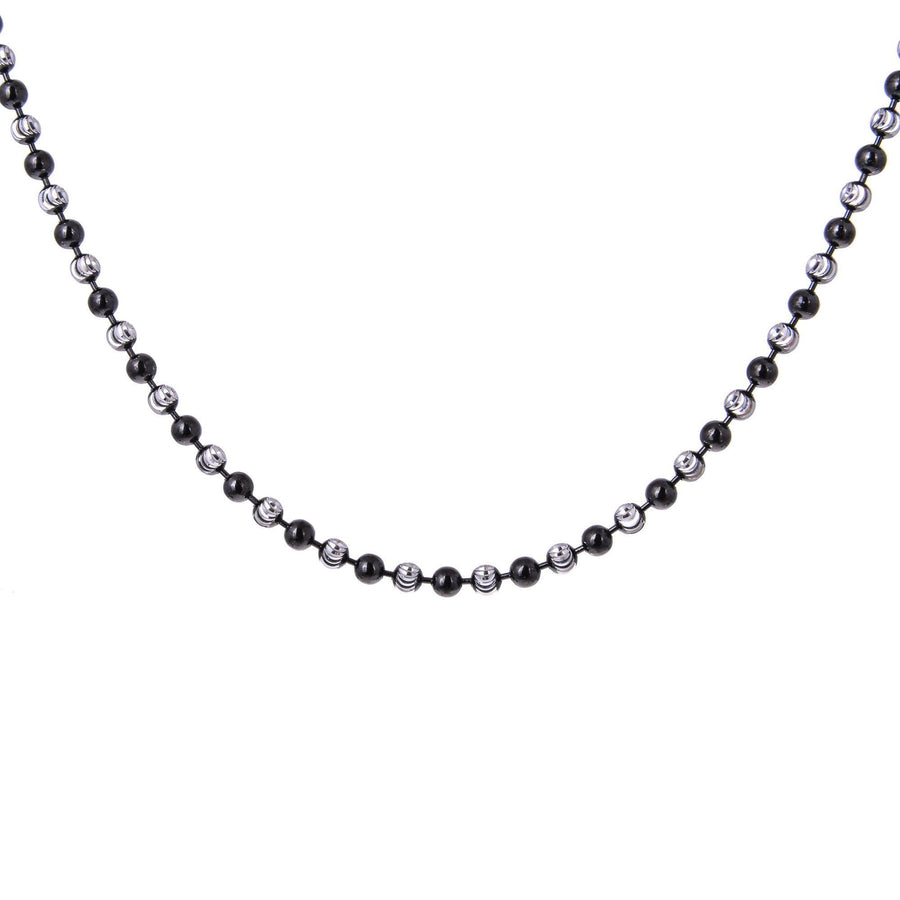 Sterling Silver Mens Necklaces - Sterling Silver Diamond Balls Chain Necklace