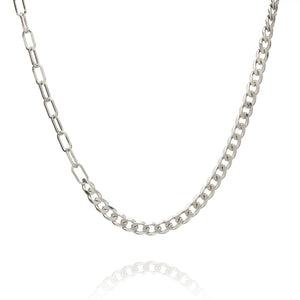 Sterling Silver Mens Necklaces - Sterling Silver Gourmette & Rolo Necklace