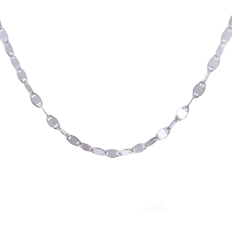 Sterling Silver Mens Necklaces - Sterling Silver Rolò Chain With Polished Square Insert Necklace