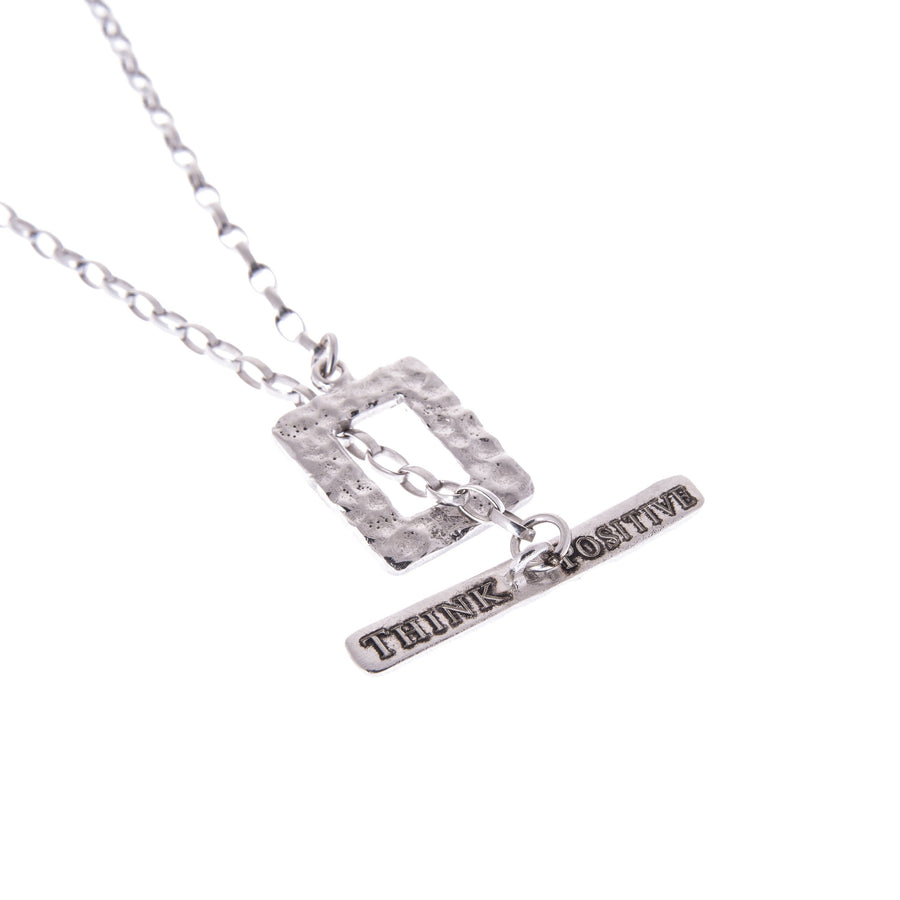 Sterling Silver Mens Necklaces - Think Positive Chain Rhodium Plated