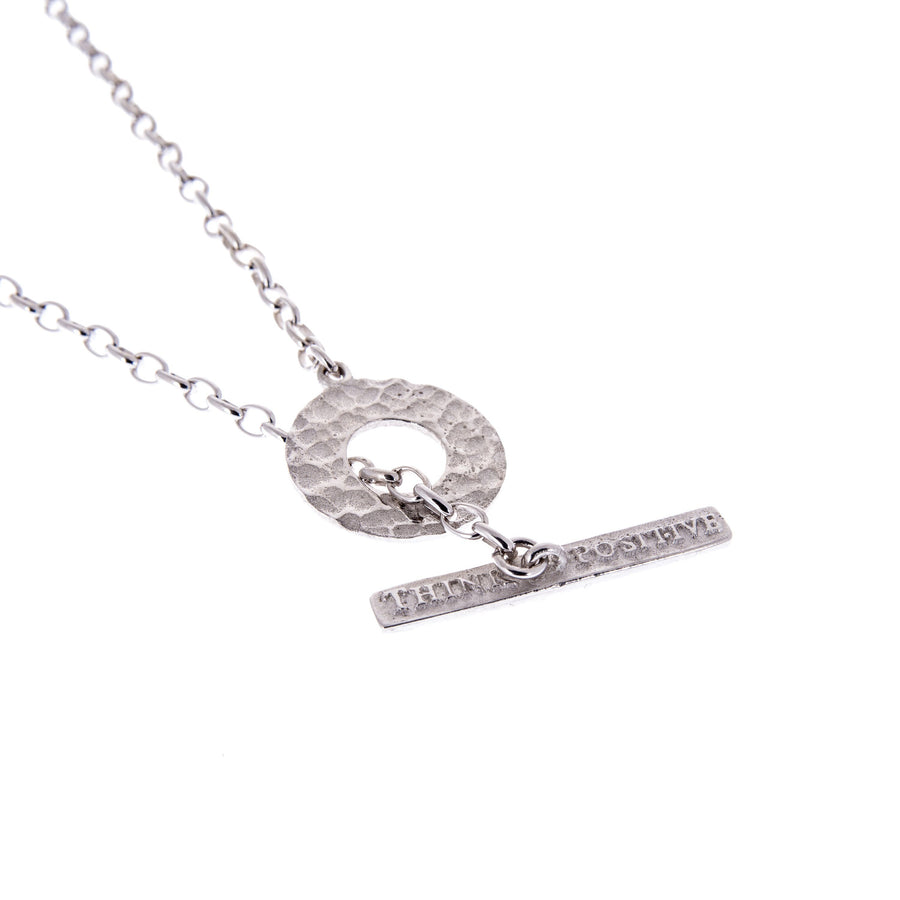 Sterling Silver Mens Necklaces - Think Positive Round Rhodium Plated