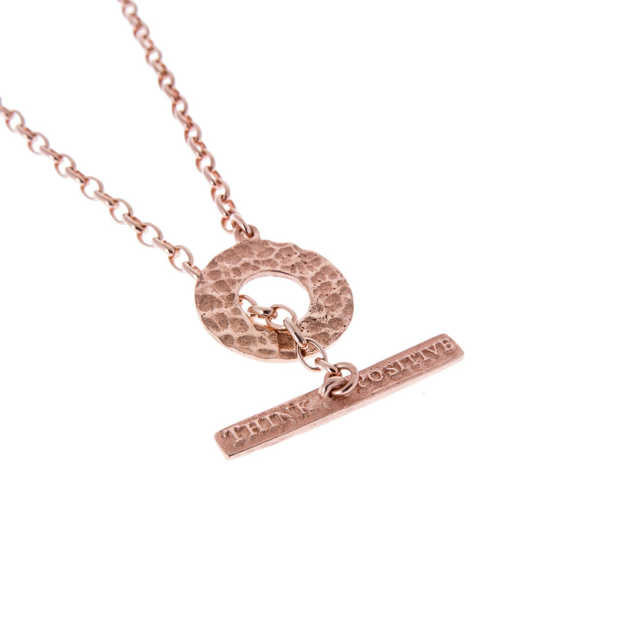 Sterling Silver Mens Necklaces - Think Positive Round Rose Gold Plated