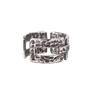Sterling Silver Mens Rings - Hammered Silver Chain Men Ring Adjustable Size