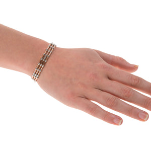 Sterling Silver Womens Bracelets - 925 Sterling Silver Rose-Gold Plated -Three Beads Wires Elastic Bracelet