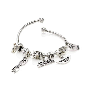 Sterling Silver Womens Bracelets - Think Positive Sterling Silver Multi-Charm Bracelet