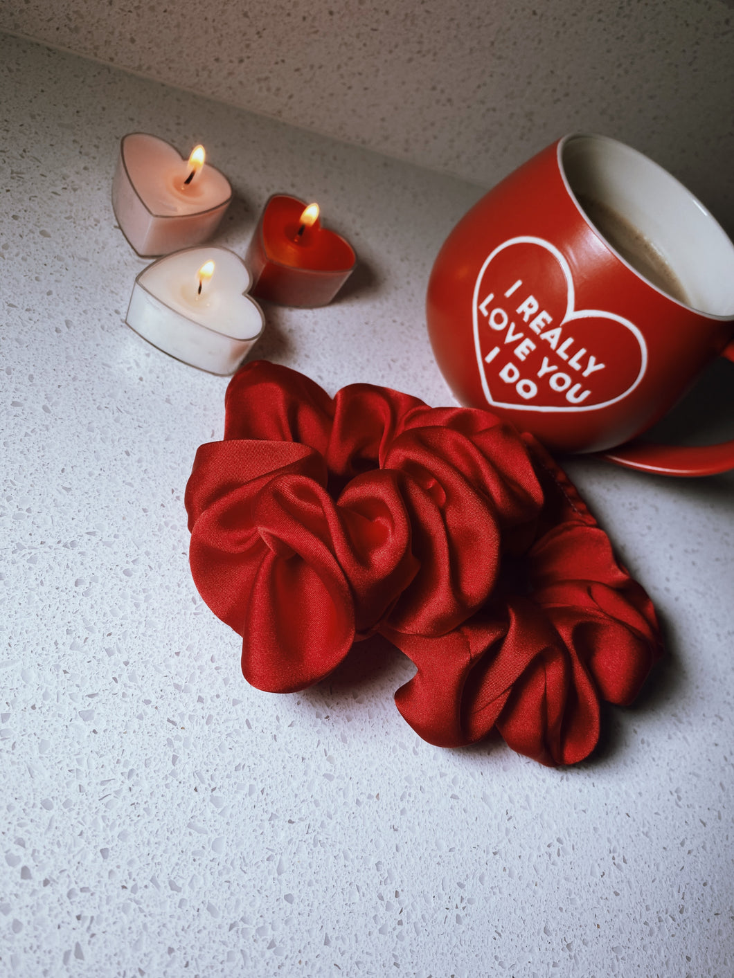 Valentine's Rose Silk Scrunchie