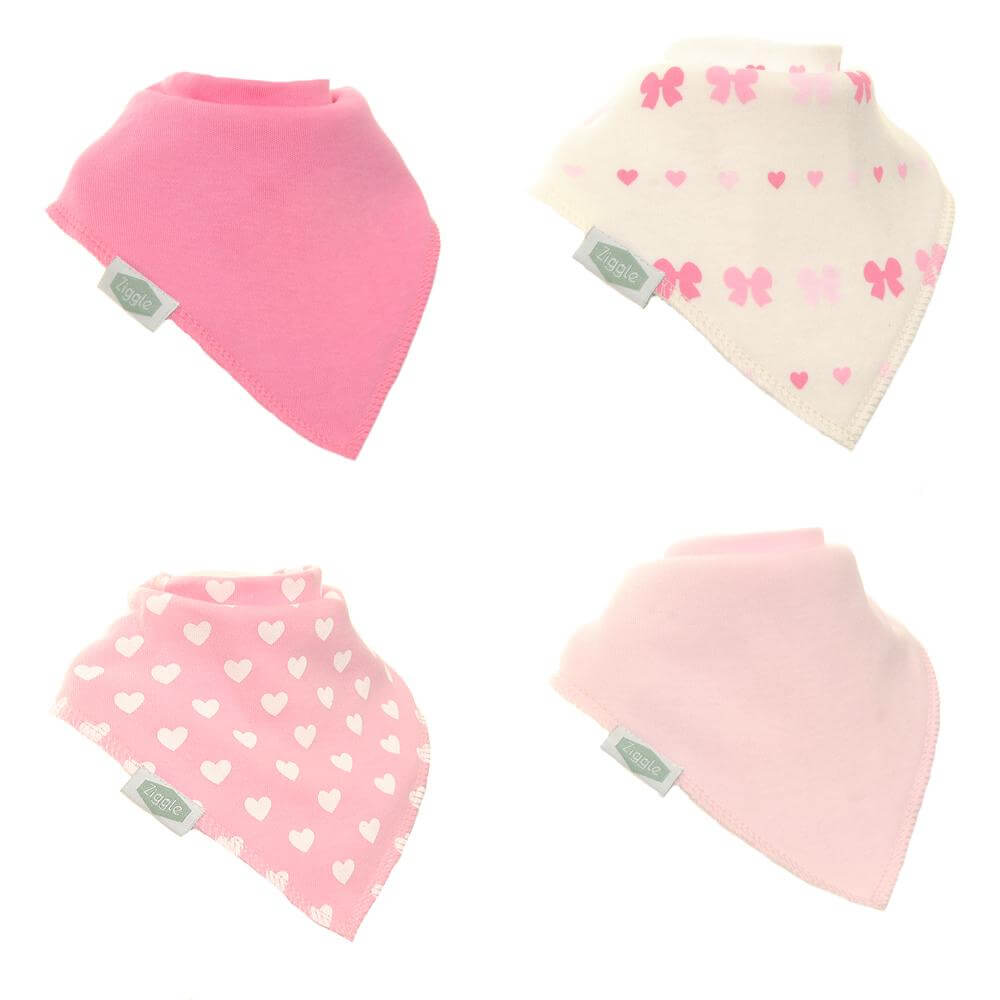 Ziggle Dribble Bib Pack - Heart and Bows - Rainbow Nation