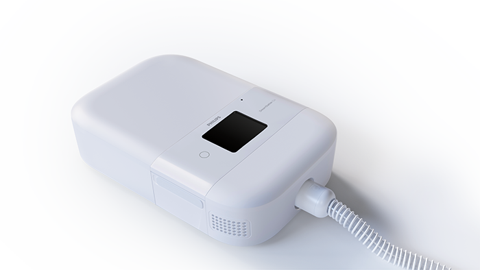 CPAP Go device with battery pack and tubing attached