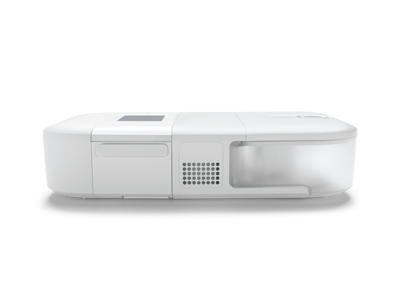 CPAP Go device with heated humidifier attached, side view